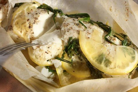 Basic Fish Baked in Parchment - fish fillets like salmon - halibut - cod - haddock - extra virgin olive oil - bay leaf - unsalted butter - lemon dry white wine - fresh herbs - chives - parsley tarragon or seasonings f your choice - parchment paper