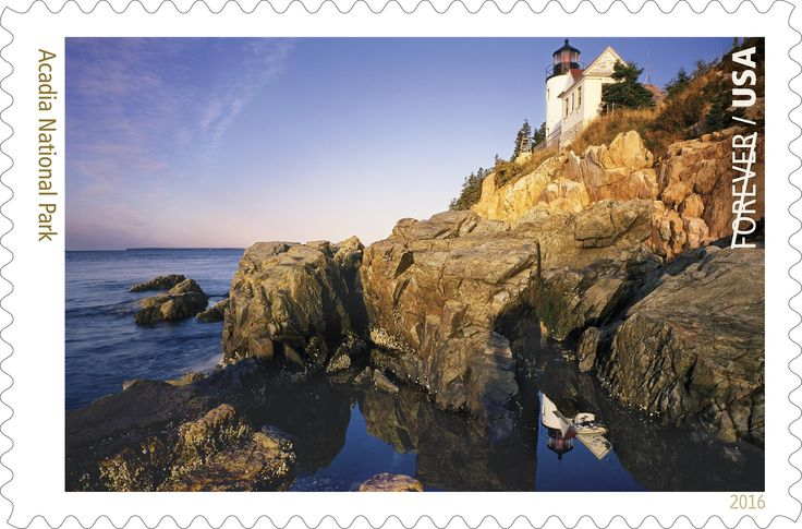 PORTLAND, Maine - An image of Acadia National Park's Bass Harbor Head Light atop rocky cliffs is the photograph being previewed today as the U.S. Postal