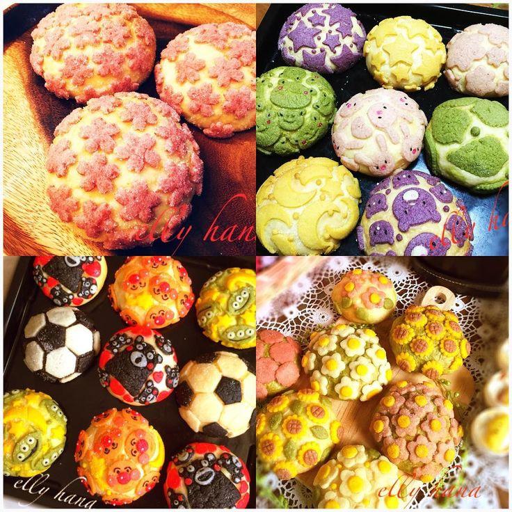 elly.hanaさん(@elly.hana)のInstagramアカウント: 「記録用 おまとめpic(*^^*) メロンパンdeコッタよシリーズ #メロンパン にデコったよ シリーズ #メロンパンdeコッタ レシピ研究中 #クッキー #花 #bread #bake…」