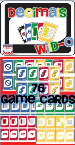 Plays like UNO! Students can play this game to review decimals. Students match decimals, picture representation, and fraction to play. #decimals #fractions #math