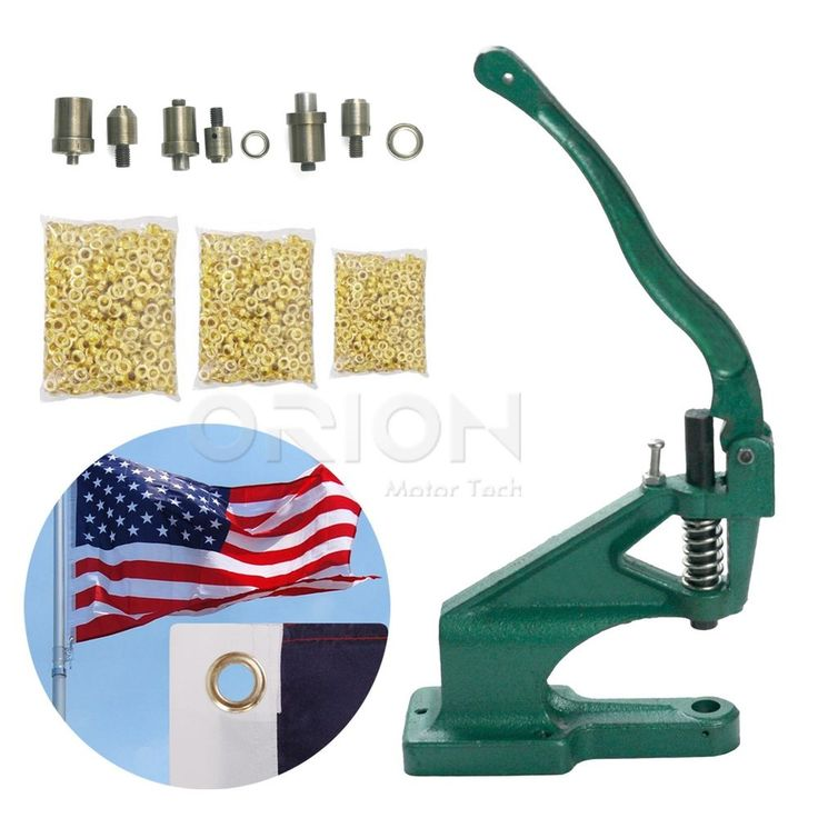 Grommet Machine 3 Die (#0 #2 #4) & 1500 Grommets Brass Eyelet Banner Hand Press