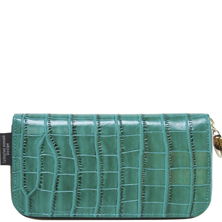 Curved Zip Section Wallet - Emerald Alligator - Catherine Manuell Design