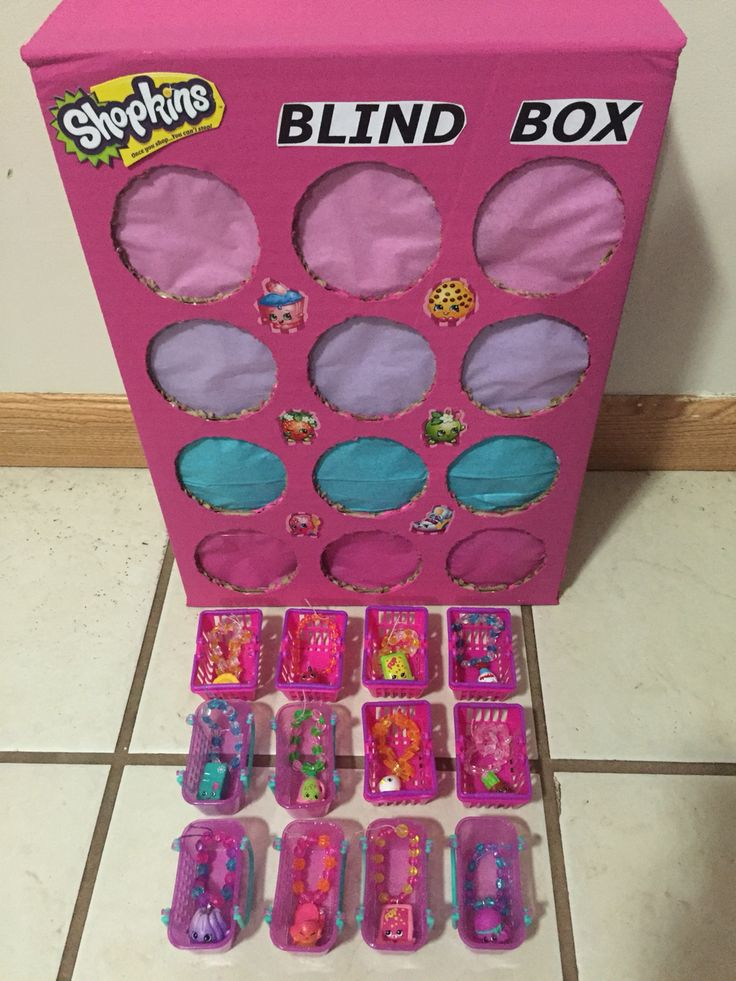 Shopkins punch box. Used duplicate Shopkins to make bracelets. These are used as prizes for games.
