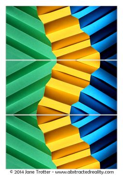 Abstract art to challenge your imagination. 'Follow the Yellow Brick Road' - an abstract photograph created by Jane Trotter. Visit the website abstractedreality.com for the story behind the image. Fine Art Prints available. #abstract #art #photography #colour #triptych