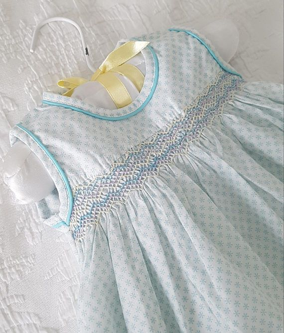 18587614cdb11 An adorable Hand Smocked Pale Blue and White baby dress - Size 0-3 ...