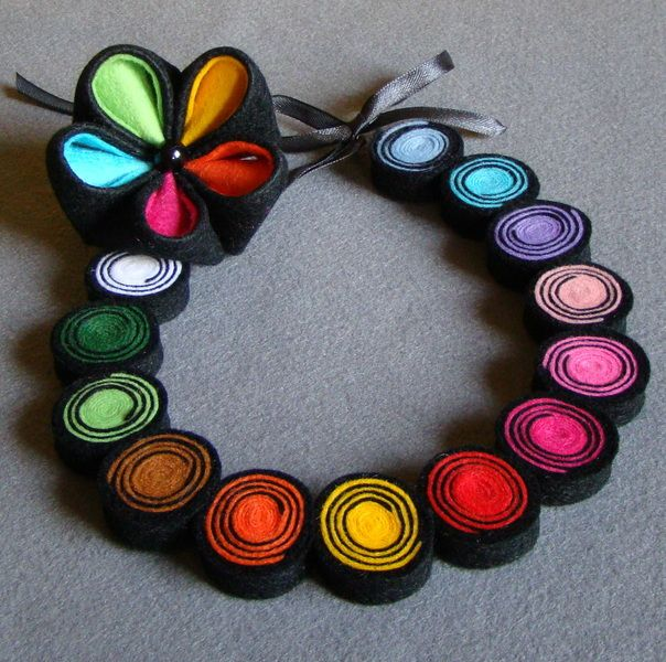 Spiral necklace and brooch Kanzashi from Ifffka