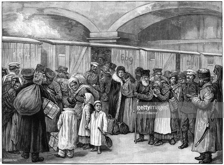 The Baltic Railway Station, expulsion of Jews from St Petersburg, Russia, 1891. A print from The Illustrated London News, 20th June 1891.