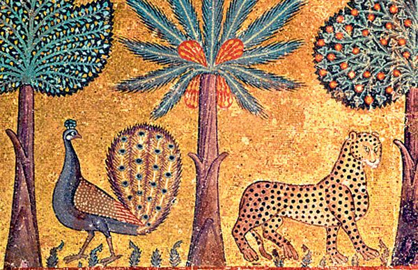 Peacocks and leopards: 12th-century mosaic in the Palazzo dei Normanni, in Palermo, Sicily