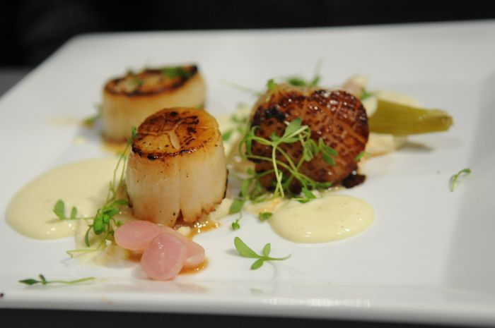 Pink Peppercorn Crusted Diver Scallops, Celeriac Puree, Fennel Confit, Braised Breakfast Radish, Olive Oil Emulsion
