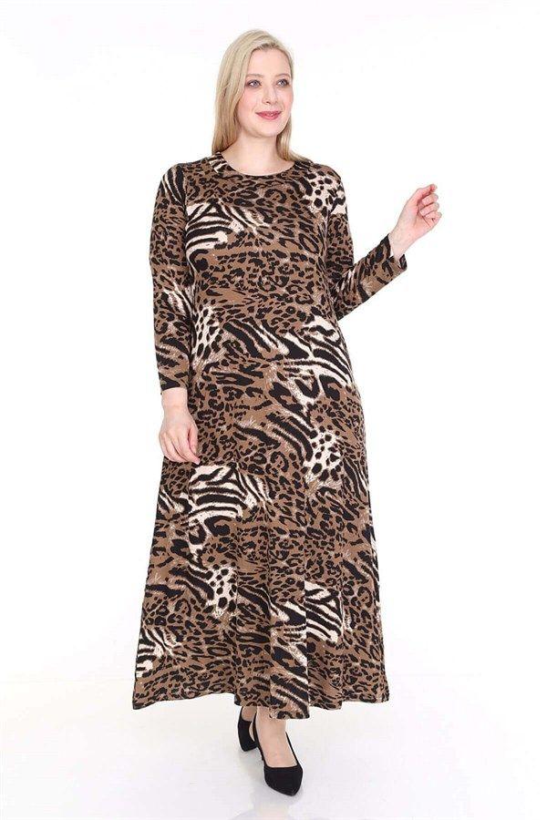 Buyuk Beden Desenli Tesettur Elbise Kahve Leopar 2020 Elbise Moda Stilleri Leopar