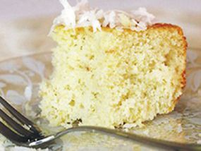 """6"""" tin.   A SIMPLE, light and fluffy coconut sponge cake. If you don't have a large cake tin, you can turn this into individual cupcakes. Serves 6."""