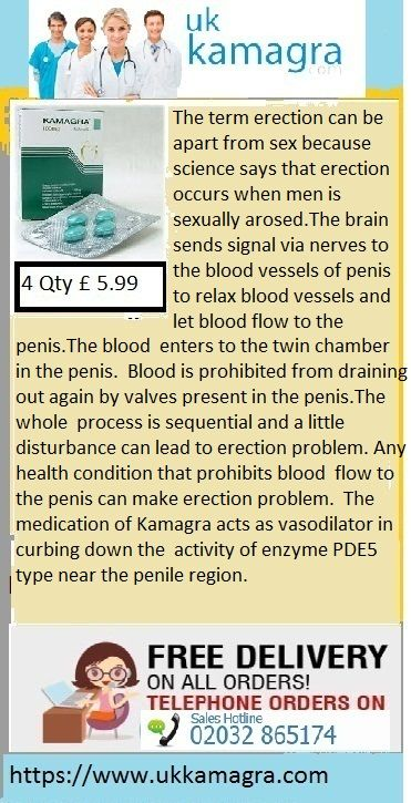 The medication of Kamagra acts as vasodilator in curbing down the activity of enzyme PDE5 type near the penile region. Thus with efficient flow of blood into the male organ one can easily get stronger, harder and firmer erections during the sexual intercourse. The medication of Kamagra Tablets is the best generic form of brand medicament Viagra which has proven much more beneficial than the counter ones. Thus ED men could easily achieve erections during their sexual activity.
