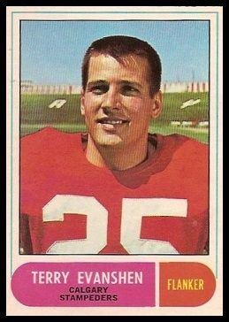 Terry Evanshen 1968 O-Pee-Chee CFL football card