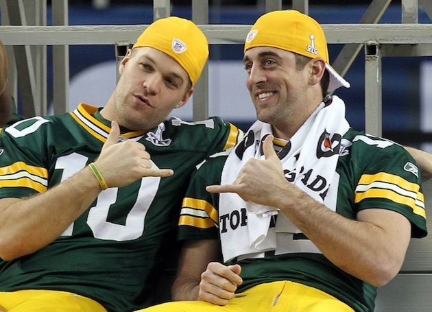 "Aaron Rodgers/Matt Flynn - SANDWICH TIME!?!?!?!? Love Flynn's ""joker mouth"" and Rodgers has always made the top of my ""To Do"" list."