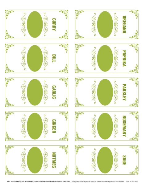 These Spice Jar Labels are FREE for download! Designed by Ink Tree