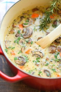 Creamy Chicken and Mushroom Soup Recipe - So cozy, so comforting and just so creamy. Best of all, this is made in 30 min from start to finish - so quick and easy!