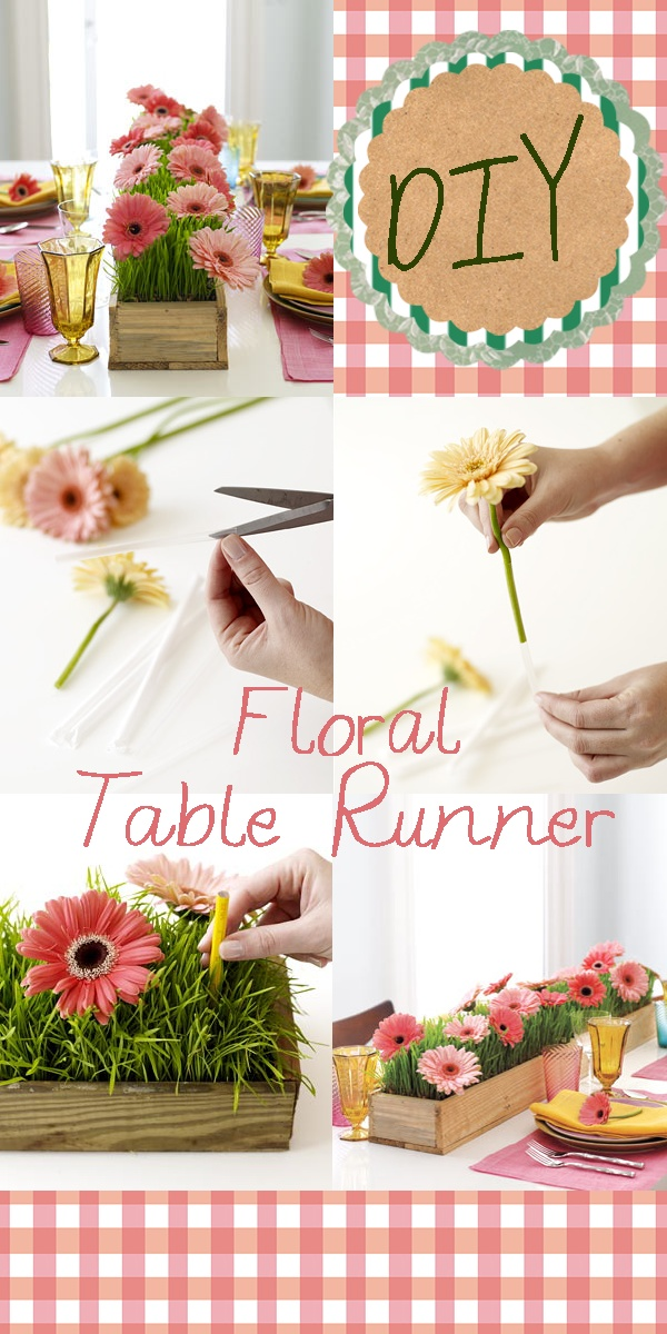 I made this little collage of this cute Easter diy Table Runner from RealSimple.com