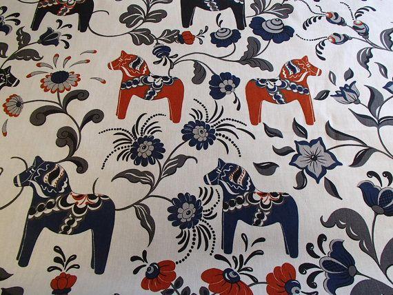 Scandinavian Swedish Navy and Brick Red Dala Horses with Kurbits Flowers on White Fabric