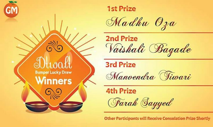 Contest Winners Of Diwali Lucky Draw !!! *Other Participants Will Receive Their Consolation Prize Shortly  Stay Tunned For Our Upcoming Contest !!!