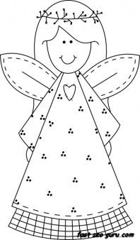 Print out Christmas smile face angel coloring pages - Printable Coloring Pages For Kids