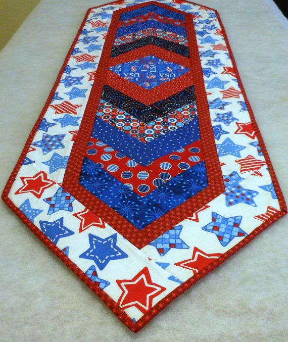 Table Runner Chevron Cloth I Love USA Patriotric by SewHappytoSew, $40.00