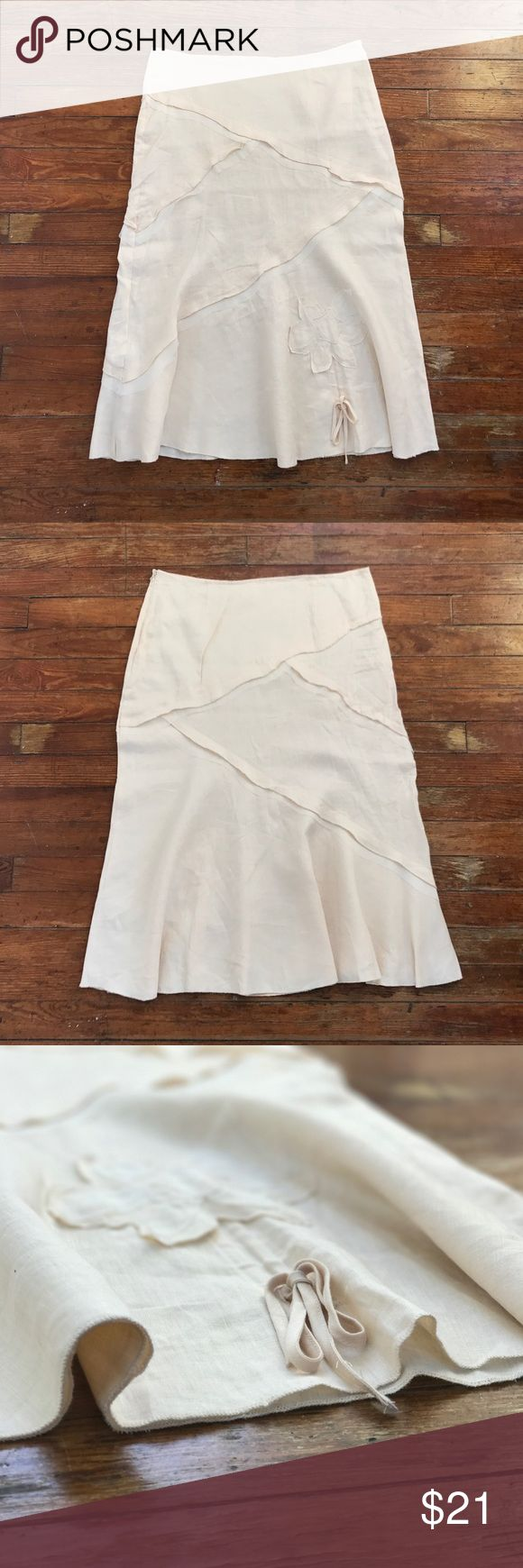 Dainty 💯% Linen Ivory Skirt w/ Detail Stitching New Without Tags & Never Worn  Beautiful detail stitching & flatters any woman's curves  Color of skirt is similar to vintage pearls  Stored in protective garment bag in my closet & can be shipped within 24 hrs of purchase  Invisible side zipper in good working condition  Hook & Eye Closure in good working condition   No visible flaws  100% Smoke-Free & Pet-Free Homes  There is no size / material tag on  Measurements: see comments below Skirts