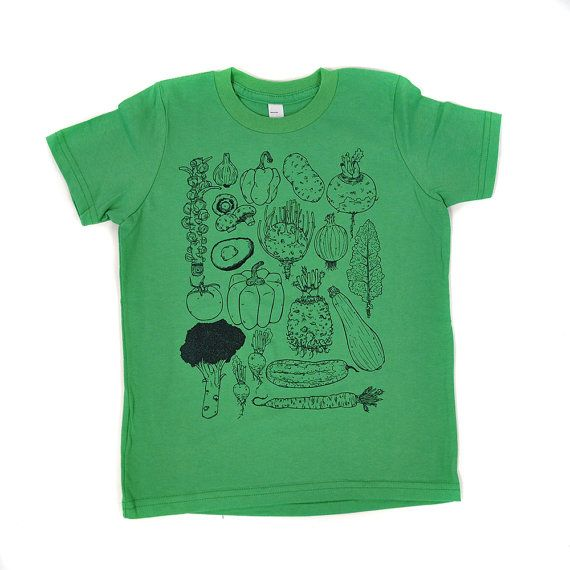 Vegetables shirt plant tee t-shirt vegetarian vegan shirt kids shirt toddler shirt cotton american apparel green avocado carrot squash