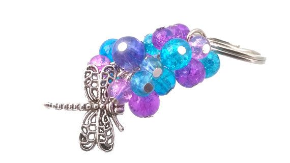 Purples & Turquoise Blue Dragonfly Beaded by MissMoonshinesMakes