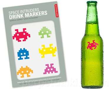 Nothing puts a damper on a party more than not remembering which drink is yours!  Avoid those drink mix-ups by marking your glass or bottle with the protection of space invaders!  Never again will somebody invade your space and put their mouth on your beverage with our Space Invader Drink Markers.  No more of your drinks will be destroyed by other peoples germ lasers!  Pew! Pew!Our old school drink markers are perfect for your next gaming party or if you are just in the mood for some nostalg