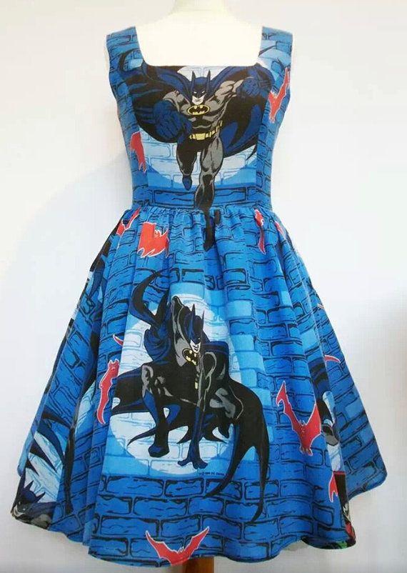 Batman Dress Rare Fabric Alternative Kitsch Skater by Frockasaurus, £70.00