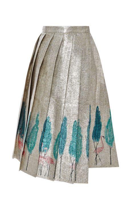 Metallic Flamingo-Print Pleated Skirt by Vika Gazinskaya Now Available on Moda Operandi
