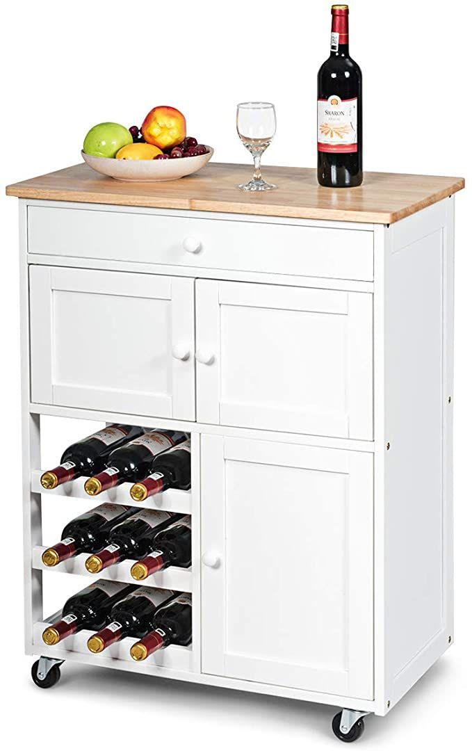 Amazon Com Giantex Modern Rolling Kitchen Trolley Cart W Drawer Wine Rack Storage Cabinet Home Restaura Kitchen Roll Kitchen Trolley Cart Wine Rack Storage Kitchen cart with wine rack