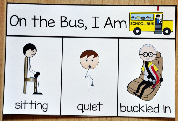 "Free Visual for Bus Behavior: This printable behavior support is a visual support for students with Autism or any other visual learner. This behavior reminder card is ideal for students who have difficulty with appropriate behavior on the school bus. This card reminds students ""When I'm on the bus, I am sitting, quiet, with my seat belt buckled."""