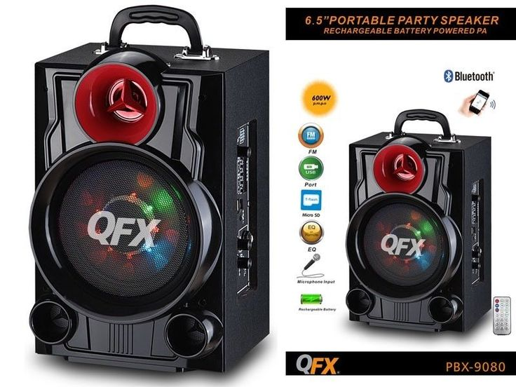 """Good luck! With a built-in rechargeable battery, the Bluetooth Party PA is ready whenever and wherever the party leads. Driver Size: 6.5"""" woofer/1x3"""" tweeter. Lights: Moonlight on Woofer. 6.5"""" BATTERY POWERED PORTABLE BLUETOOTH SPEAKER. 