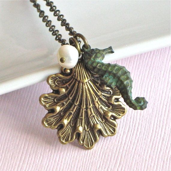 Seahorse Shell Necklace   Ocean Jewelry Verdigris by mcstoneworks, $27.00