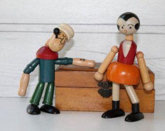 Wooden Popeye and Olive Oyl dolls
