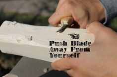 introduction to whittling - I'm not a big fan of letting boys use knives in den meeting, but the new requirements coming out in 2015 have a required elective using a knife. I've also heard that using a plastic knife and bar of Ivory soap teaches boys how to whittle without the dangers of a sharp knife.
