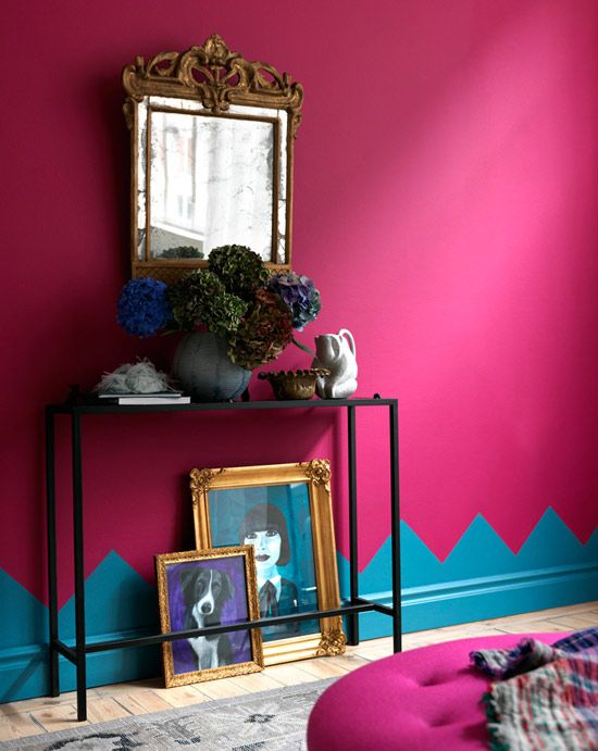 bold wall colors... never would have thought to paint the trim that way... would be cute for a craft room