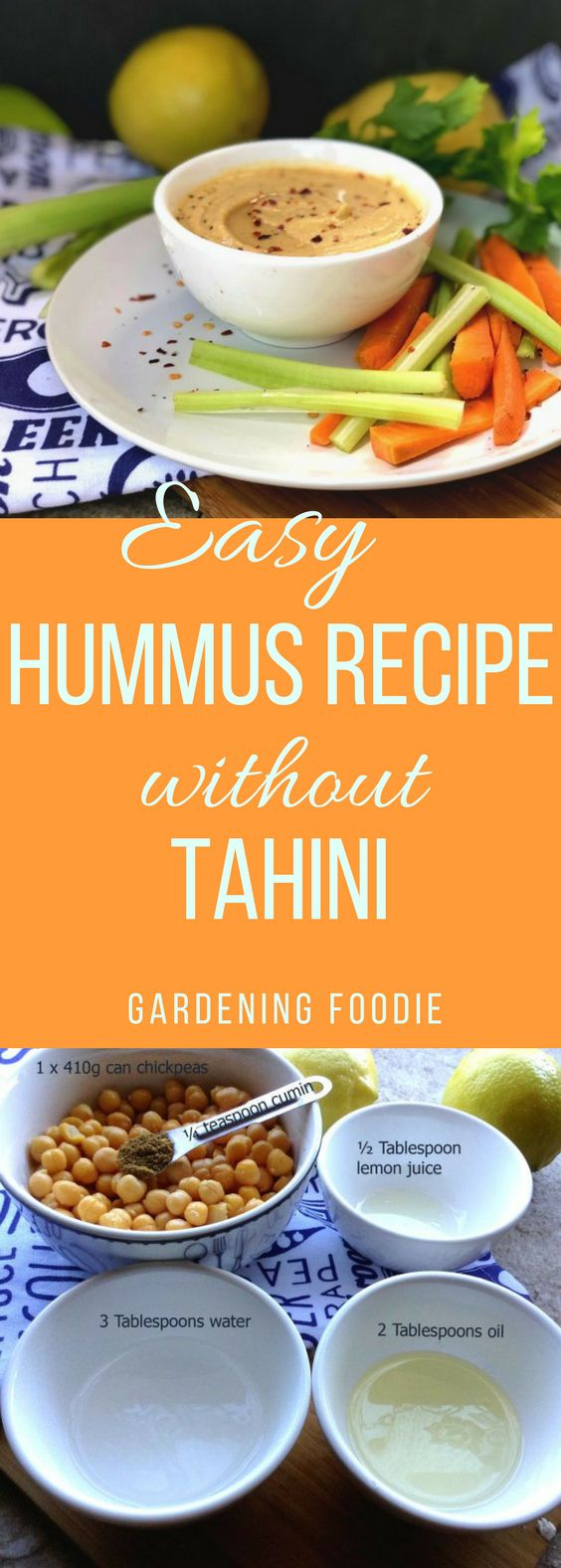This Easy Hummus recipe without tahini  takes just 10 minutes to prepare. Simple, healthy and high in protein, hummus is an amazing spread for breads and crackers and makes a delicious dip for chips.