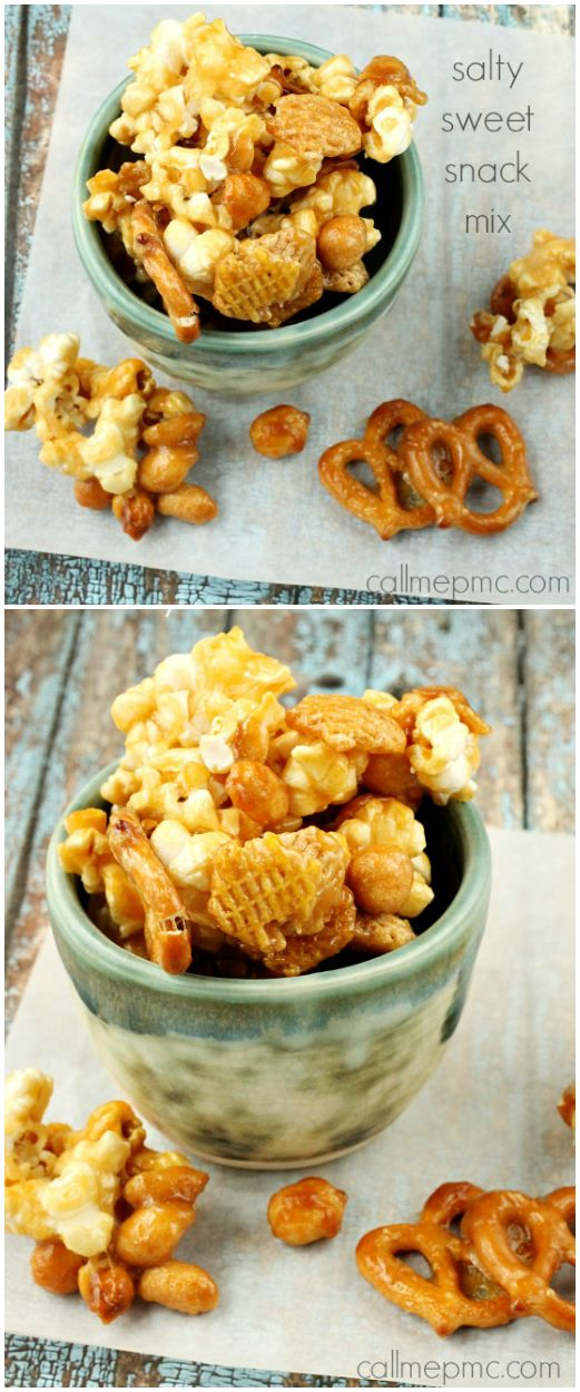 Salty Sweet Caramel Snack Mix #callmepmc #snackmix #caramel