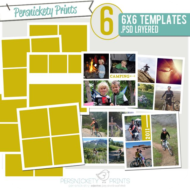 6 Free 6x6 Templates from Persnickety Prints..perfect for design E photo pockets