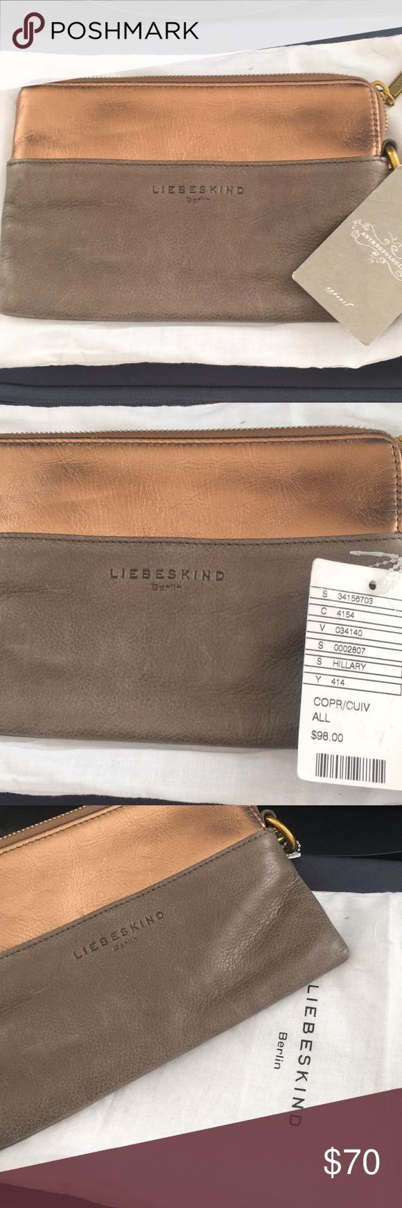 NWT leather Liebeskind clutch from Anthropologie Brand new with tags. Real leather clutch by Liebeskind from Anthropologie. Roughly 8.5 x6. Comes with white protective sleeve. Liebeskind Bags Clutches & Wristlets