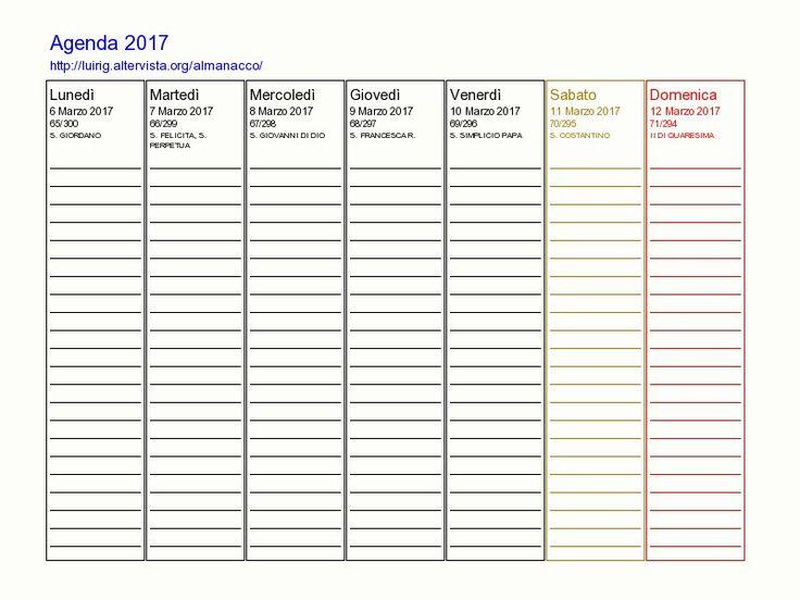 17 migliori idee su calendario settimanale su pinterest - Agenda da tavolo settimanale ...