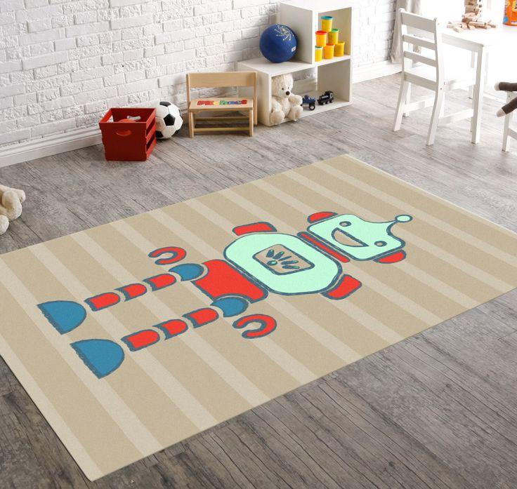 Rug, Area Rug, Robot Nursery, Rugs For Nursery, Kids Rugs, Nursery Rug, Nursery Decor, Playroom Rug, Playroom Décor, Girls Rug, Rugs 3X5 by HawkerPeddler on Etsy https://www.etsy.com/listing/254428422/rug-area-rug-robot-nursery-rugs-for