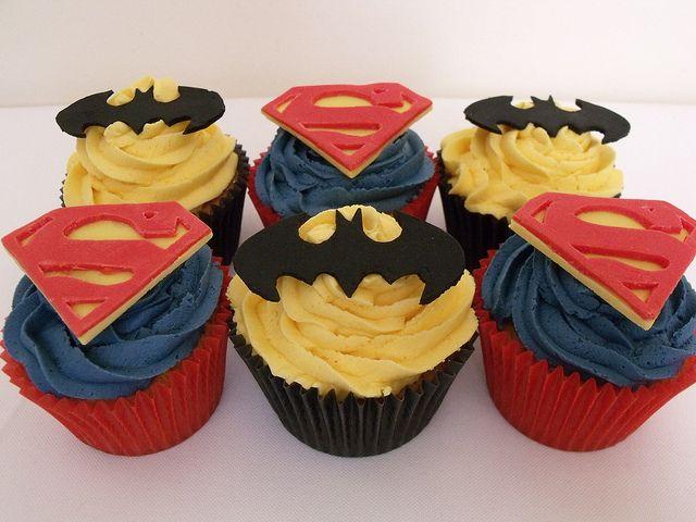 Batman & Superman Cupcakes from Genii Cupcakes (http://www.facebook.com/GeniiCupcakes)