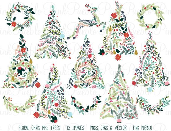 Floral Christmas Trees & Bunting by PinkPueblo on @creativemarket