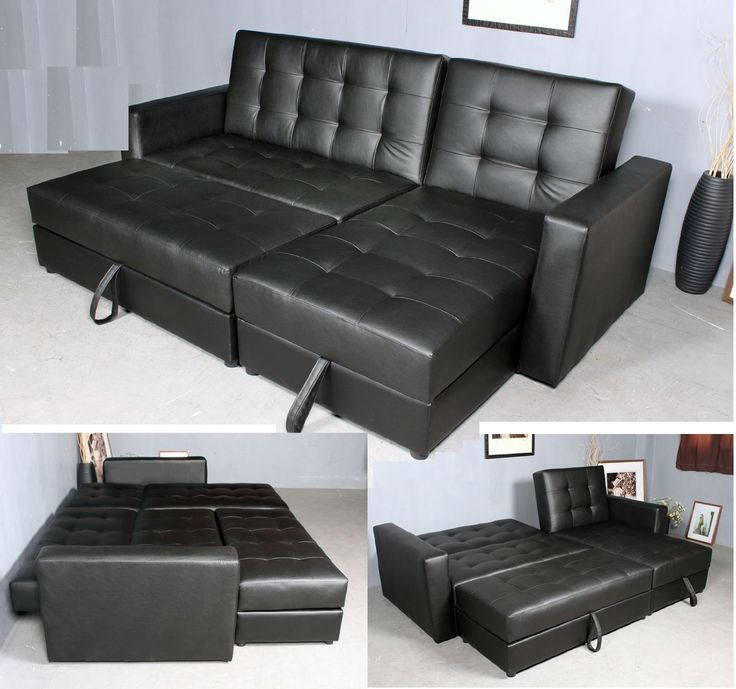 homcom button tufted sofa bed set sectional daybed storage box design black amazon