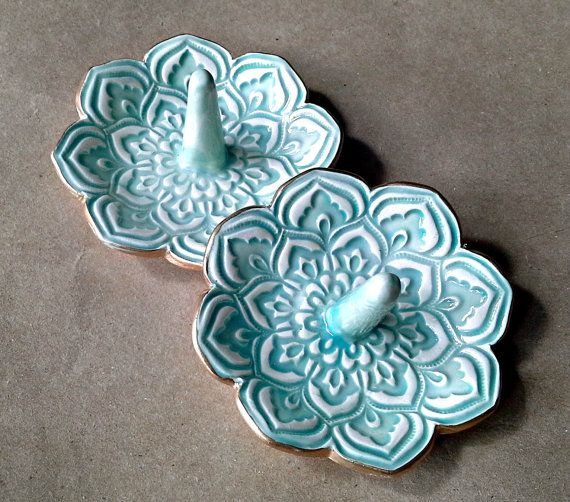 SALE TWO Lotus Ring Holder Bowls shower favors SECONDS by dgordon