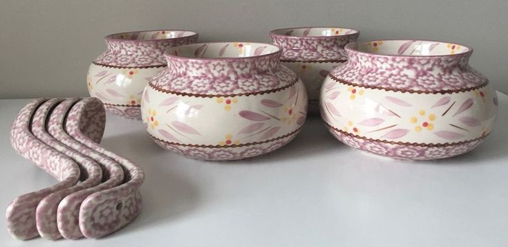 NEW Temptations by Tara 8 Piece Soup Bowl Spoon Set Lilac Old World Oven Dishes #TEMPTATIONS