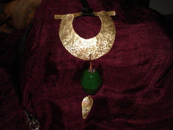 Handhammered Bronze Flamed Pendant
